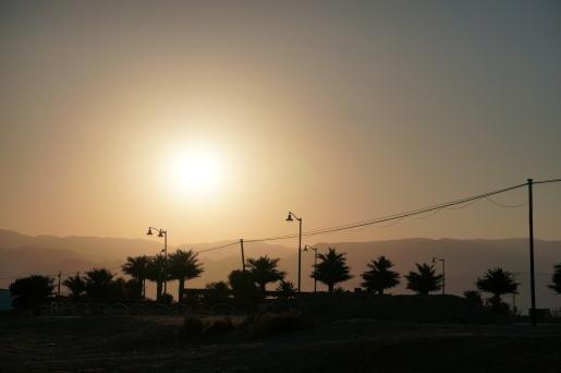 Sonne über den jordanischen Bergen