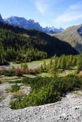 Blick zurück auf die höchsten Karwendelberge